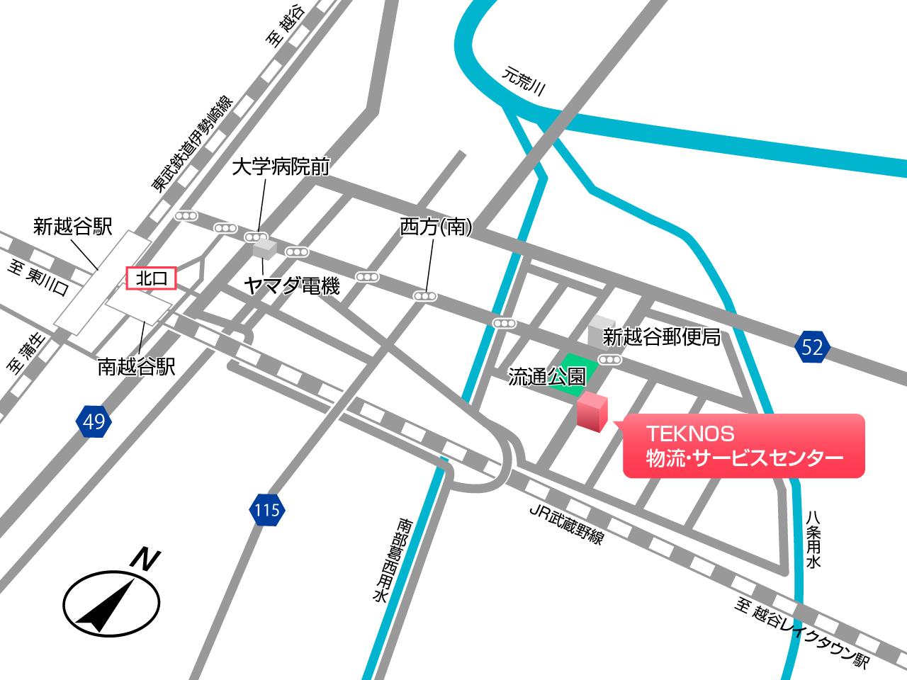 千住,TEKNOS,物流・サービスセンター地図